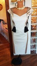 BNWT Karen Millen signature cotton colour block peplum pencil panel cap dress 12