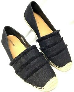 Women's Size 11 Wide COMFORT VIEW, Black Denim Espadrilles, Flats