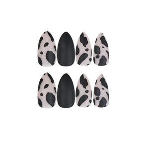 24 Pcs Leopard Artificial Nail Tips Almond Matte Black French False Fingernails
