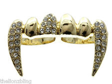 Adjustable 2-Finger Ring Gold Vampire / Dracula Fangs with Crystal Bling
