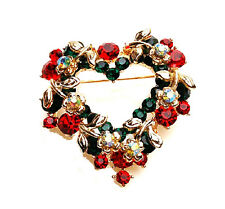 Colourful Christmas Heart Wreath Brooch Full of Rhinestones Pin Gift BR162