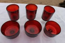 Vintage Arcoroc France 2 Sizes Ruby Red Dessert & Juice Cups 6 pieces