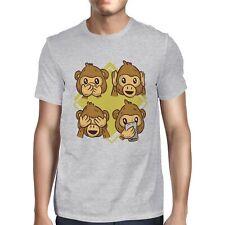 1Tee Mens Four Wise Monkeys Cartoon  T-Shirt