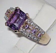 Estate 14k y.gold ring 6x8mm Amethyst,Diamond total weight 2.70 gram,size 7.25