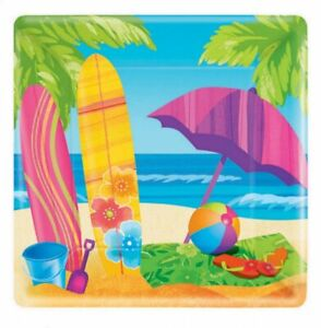SURFS UP Square Paper Plates Pack of 8 Party Supplies Birthday Tableware