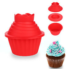 3 Piece Giant Cupcake Mould Jumbo Silicone Birthday Cup Bakeware Cake Trays