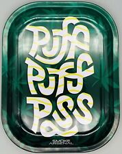 """New Premium Metal Rolling Tray Puff Pass Green 5.5"""" x 7"""" Collectible Trays Art"""