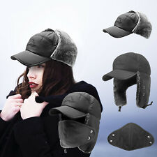 Men Women Winter Aviator Bomber Hat Trooper Ear Flap Ski Trapper Face Mask Cap