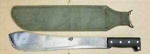 Vintage Hand Forged 15in Blade BOLO Machete with Canvas Sheath