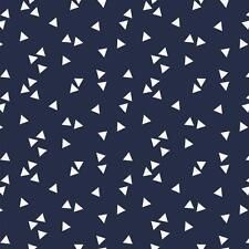 Baumwollstoff Dreiecke Navy Blau METERWARE Webware Popeline Stoff