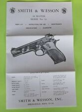 SMITH & WESSON .38 MASTER MODEL 52 PISTOL OWNER INSTRUCTION MANUAL TRI-FOLD