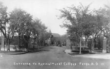Entrance To Agricultural College, Fargo, North Dakota RPPC Vintage 1932 Postcard