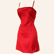 Karen Millen Kleid Satin Bubble Dress Cocktailkleid Partykleid Gr.42 Rot 80692