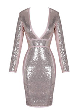 BCBGMAXAZRIA Long Sleeve Sequin Dress Bandage Party Nude/pink Gold A483 L