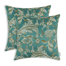 2pcs Square Teal Cushion Covers Pillows Shell Jacquard Floral Home Decor 45x45cm
