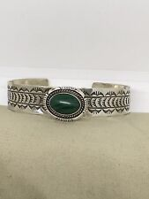 Vintage American Indian Sterling Silver Malachite Cuff Bracelet Signed BB T1-b