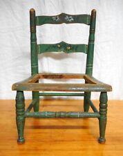 Antique 19th C Child's Paint Decorated Chair Wonderful Original Blue-Green Paint