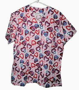 White w/ pink/purple Hearts &blue roses Scrub top  Small NWT