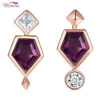 Stud Earrings For Women Purple Amethyst Rose Gold White Cz 925 Sterling Silver