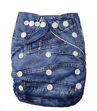 Modern Cloth Reusable Washable Baby Nappy Diaper & Insert, Denim