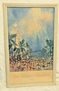 "Vnt The Honolulu Marathon (Start) Poster 1986 Carolyn Anderson - 34"" x 21"" Inch"