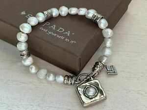 SILPADA Sterling Silver Freshwater Pearl Hammered Toggle Charm Bracelet B1439
