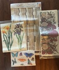 New listing Butterfly Flowers Peony Iris Tulip Viola Tatouage Yovan Dry Rub Transfers