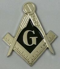 New Freemason Masonic cut-out Mini car emblem in silver with solid Black