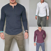 Mens Plain V Neck Henley New Casual T-shirts Long Sleeve Tops Slim Cotton Blouse
