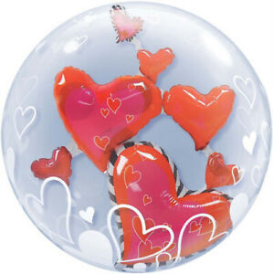 Ballon BUBBLES Qualatex 61cm de diamètre double Coeurs rouges