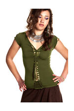 Braided Pixie Top Psy Trance Slashed Boho Goa Beach Plaited Festival Clothing Green Medium (uk 10-14)