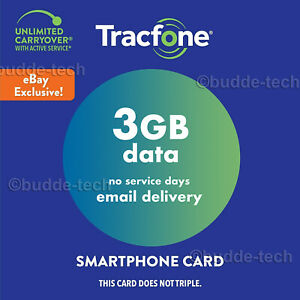TracFone 3GB Data Only Smartphone plan *PIN # Airtime Plan Smart Quick Refill*