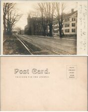 AMERICAN TOWN STREET w/ RAILROAD TROLLEY TRACKS ANTIQUE RPPC REAL PHOTO POSTCARD