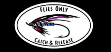 """Flies Only Catch & Release"" Decal Fly Fishing Sticker"