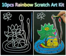 10 Sheets Hot Magic Scratch Art Painting Paper w/Drawing Stick Kids Toy 16K