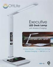 Ottlite Executive LED Desk Lamp with Wireless Charging - White