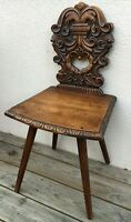 Antique German black forest chair early 1900's knights eagles woodwork