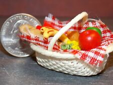 Dollhouse Miniature Food Basket Fruit Cheese 1:12 scale D74A Dollys Gallery
