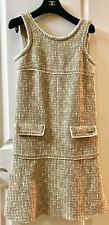 MOST WANTED CHANEL 15P BEIGE ECRU LESAGE FANTASY WOVEN TWEED DRESS 38 36 NEW
