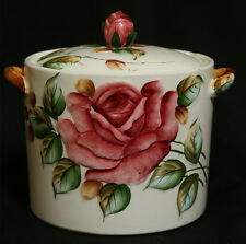 DELIGHTFUL LARGE ANTIQUE / VINTAGE COOKIE / BISCUIT JAR - ROSES DECORATION