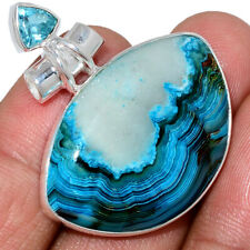 Mexican Laguna Lace & Blue Topaz 925 Sterling Silver Pendant Jewelry AP192979
