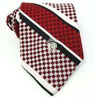 Oleg Cassini Vintage 1970s Tie Maroon Red Black White Woven Stripe Necktie