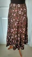 Womens/Ladies Brown Floral Long Boho Hippy Festival Gypsy Maxi Skirt Size 14/16