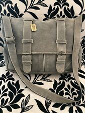 Claire Chase Large Suede Leather Gray Messenger Crossbody Bag