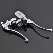 "Pair 1"" 25mm Motorcycle Chrome Brake Clutch Master Cylinder Reservoir Levers"