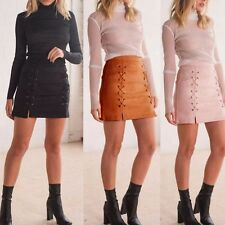 Fashion Women New High Waist Lace Up Faux Suede Bandage Autumn Short Mini Skirt