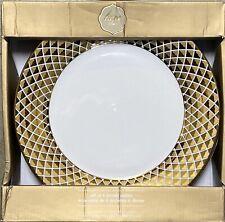 CIROA LUXE METALLIC GOLD LATTICE DINNER PLATES SET OF 4
