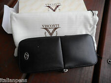 VISCONTI 3 PEN CASE LEATHER WITH ZIPPER