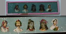 Ancienne plaque verre magic lanterne magique photo fin XIX° ethnies indiens ..