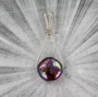 Black Coin Pearl Pendant Necklace in Sterling Silver  Wire Wrapped